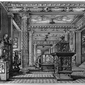 The V&A's first ceramic galleries shown in an engraving by John Watkins, 1876