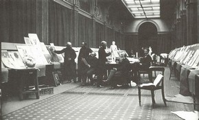 Judging art students' work in the National Competition Gallery, ca.1870-75