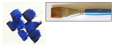 Sample of paint applied with a square brush