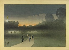 Figure 6 - 'Buckingham Palace, London, seen across the Green Park at dusk', Yoshio Markino, circa 1911, woodblock print. Museum number E.820-1949