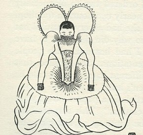 Figure 8 - Sketch, 'The head of the Chinese lady would not even emerge from the Elizabethan skirt', Chiang Yee, 1938, ink and pencil on paper, reproduced in 'The Silent Traveller in London' (1938)