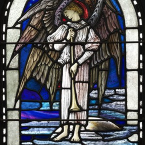 Trumpeting Seraphim, stained glass panel, Veronica Whall, 1925. Museum no. C.65-1973, given by Mr C.J. Whall