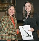 Winner Brigitte Evill with Assistant Curator of Sculpture Ruth Cribb
