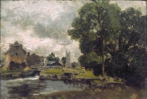 John Constable (RA), 'Dedham Lock and Mill', oil painting, about 1816. Museum no.145-1888