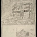Peter Jones, Sloane Square, London. William Crabtree (1905–91), with J.A. Slater & A.H. Moberly and C.H. Reilly, 1935–9. Sketches of the finished design by William Crabtree, 1936. Pencil on tracing paper. RIBA Library Drawings Collection