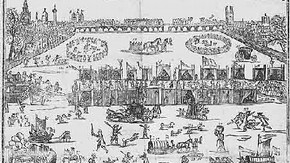 Woodcut showing a view of the Frost Fair on the River Thames, 1683