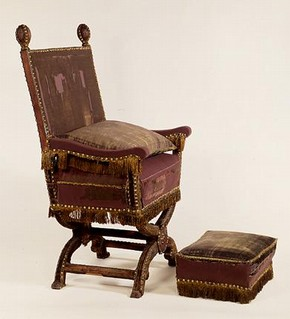 Juxon's beech framed chair & stool, upholstered with purple velvet with green and blue satin and a fringe of gold wire, by John Casbert (upholsterer) & Ralph Silverston (fringe maker), London, UK, 1661. Museum no. W.13-1928