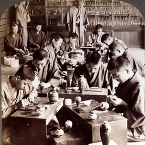 Stereograph No. 69. Expert workmen creating exquisite designs in cloisonné. Museum no. E.70-1993