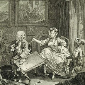 William Hogarth, 'A Harlot's Progress' (plate II), England, 1732, engraving & etching. Museum number F.118.37