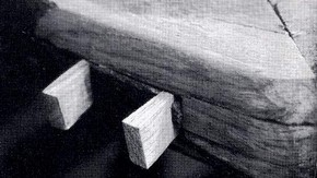 Fig. 5 Wedges cut and fitted to secure corner of frame