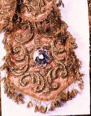 Detail of a sleeve from a costume worn in a private performance in Tuscany, about 1750. Museum no. S.792 – 1982