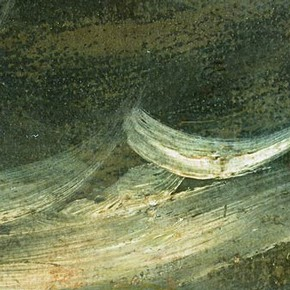 Detail of 'The Shipwreck of Don Juan' showing touches of light paint added to the sea. Click to enlarge