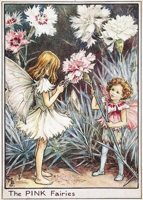 Cicely Mary Barker (1895–1973), Illustration of the Pink Fairies for Flower Fairies of the Garden, 1944. Reproduction of Flower Fairy illustrations, © The Estate of Cicely Mary Barker, 2009