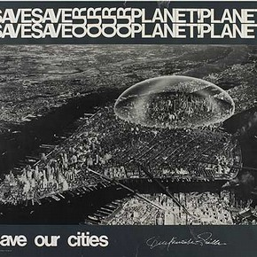 Figure 3. E.137-1972 'Save our Planet, Save our Cities' Dome above Manhattan by Buckminster-Fuller, 1962 (Poster produced by Olivetti) (Photography by V