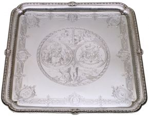 Walpole Salver, marked by Paul de Lamerie, 1727/8. Museum no. M.9-1956, © Victoria and Albert Museum, London