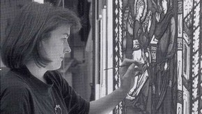 Fig.2. Agnes Holden at work in the Stained Glass studio.
