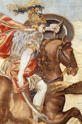 Wool and silk tapestry depicting Perseus and Andromeda (detail), designed by Francis Cleyn and woven at the Mortlake tapestry manufactory, England, about 1635-6. Museum no. T.228-1989. © Victoria and Albert Museum, London
