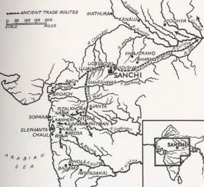 Map showing location of Sanchi in relation to ancient trades routes and other historic Buddhist sites