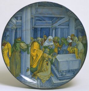 Dish, 'The Presentation of Christ in The Temple', after Albrecht Dürer, Faenza, Italy, about 1515, maiolica tin-glazed  earthenware. Museum no. C.159-1937, © Victoria and Albert Museum, London