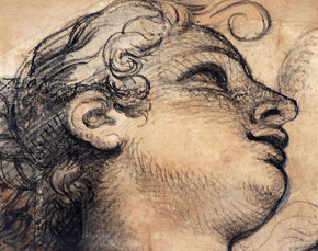 Figure 4 - Study for a head in profile in the Dome of the Chapel at the Château de Sceaux, Drawing, Charles Le Brun, France, about 1674, black chalk on paper. Musée du Louvre. Museum no. 27872, © Musée du Louvre, Dist. RMN-Grand Palais / Suzanne Nagy