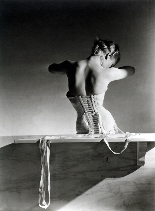 Mainbocher Corset (pink satin corset by Detolle), Paris, 1939. © Horst Estate/Conde Nast