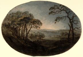 'Landscape', by William (Rev.) Gilpin (1724-1804), 18th-early 19th century, watercolours. Museum no. DYCE.736, © Victoria and Albert Museum, London