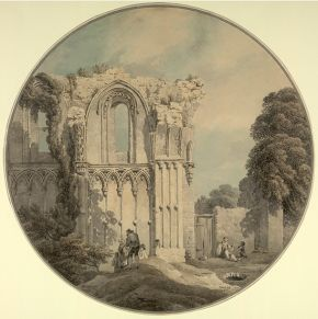 Michael Angelo Rooker, part of the North Wall of St Joseph's Chapel, Glastonbury Abbey, Somerset, watercolour. Museum no. 2927-1876, © Victoria and Albert Museum, London
