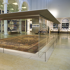 The Ardabil Carpet on display in the Jameel Gallery. © Victoria and Albert Museum, London