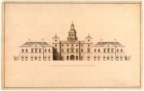 Design for the façade of the Horse Guards facing East, John Vardy and William Kent, 1753, pen and ink, wash. Museum no. 3316, © Victoria and Albert Museum, London