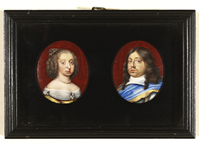 A pair of portrait miniatures depicting Hedwig Eleonora of Schleswig-Holstein-Gottorf (1636-1715) and her consort, Carl X Gustaf (1622-1660), King of Sweden painted by Pierre Signac (1623-1684) c. 1654-1660.