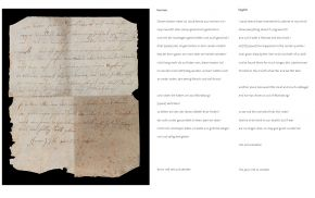 Manuscript written by Jacob Arend, as found inside the writing cabinet (verso)