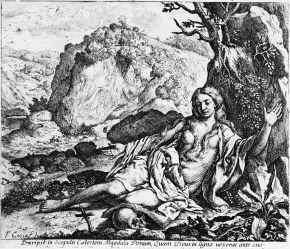 The Magdalene Repentant, print, Francesco Cozza, Italy, 1650, etching. The Illustrated Bartsch. Vol. 41, Italian Masters of the Seventeenth Century (New York: Abaris Books, 1987). © ARTstor