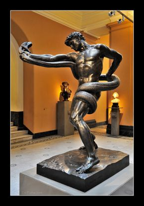 Athlete Wrestling a Python, Frederick Leighton, 1877, as displayed in the V&A's Dorothy and Michael Hinzte Sculpture galleries in 2007. Loan from Tate, museum no. N01754. © Victoria and Albert Museum, London