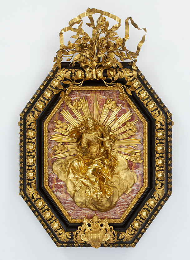 Framed relief of the Virgin and Child, after Alessandro Algardi, about 1750, Italy (Bologna), gilded bronze and ebony on a modern marble ground. Museum no. A.5-1966, © Victoria and Albert Museum, London