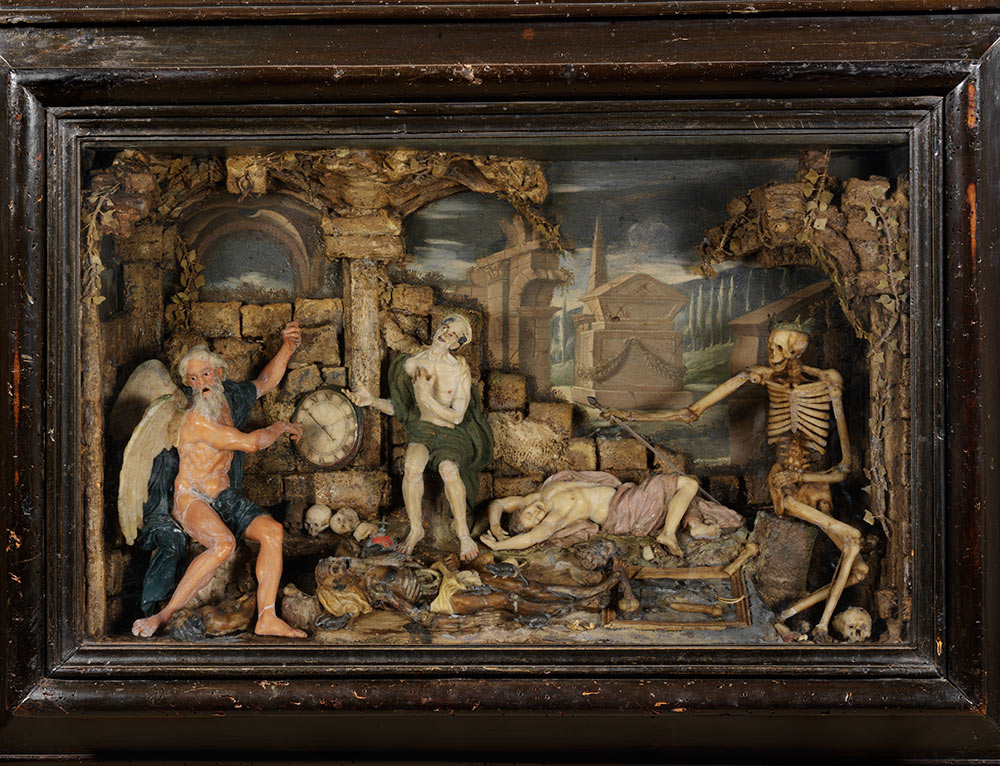Time and  Death, probably by Caterina de Julianis, about 1670, Italy (probably  Naples), coloured and moulded wax. Museum no. A.3-1966, © Victoria and  Albert Museum, London