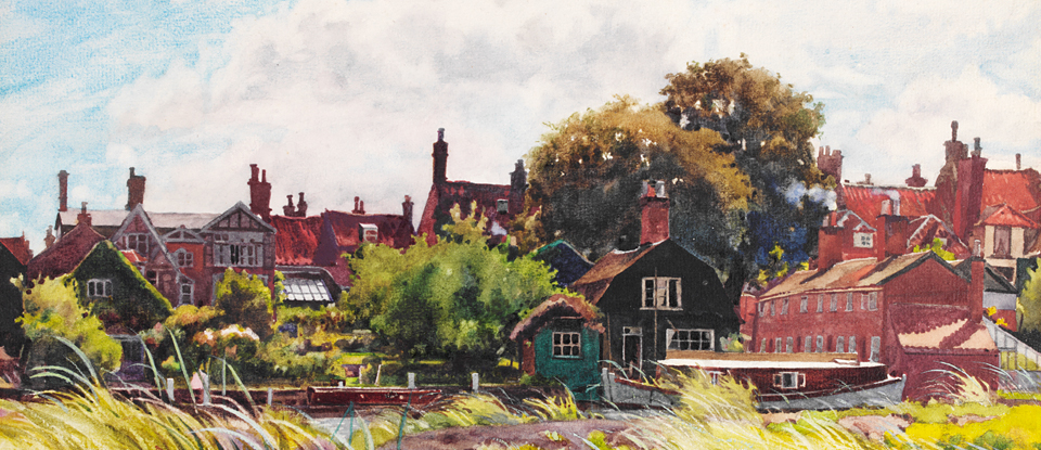 Detail from 'Riverside, Beccles', Edward Walker, Museum no. E.2171-1949 Given by the Pilgrim Trust