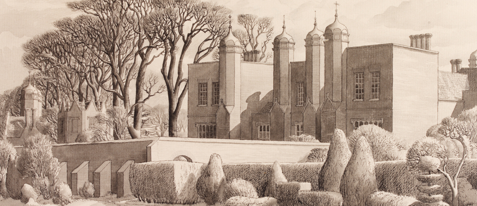 Detail from 'Melford Hall, Long Melford', Stanley Roy Badmin, Museum no. E.2112-1949, Given by the Pilgrim Trust