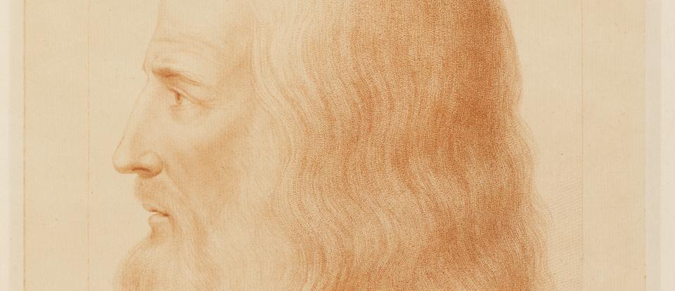 Portrait of Leonardo da Vinci, Francesco Bartolozzi, late 19th century. Museum no. E.2128A-1917