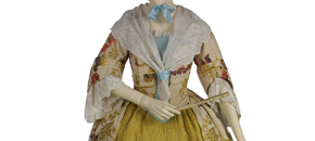 Interactive: Brocaded Silk Gown, by Unknown Maker, about 1735