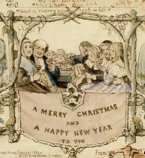 Christmas Card, designed by J.C. Horsley for Sir Henry Cole, 1843. Museum no. L.3293-1987