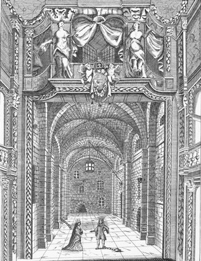 Engraved print of Duke's Theatre interior, reproduction of an earlier 17th century print, late 18th century