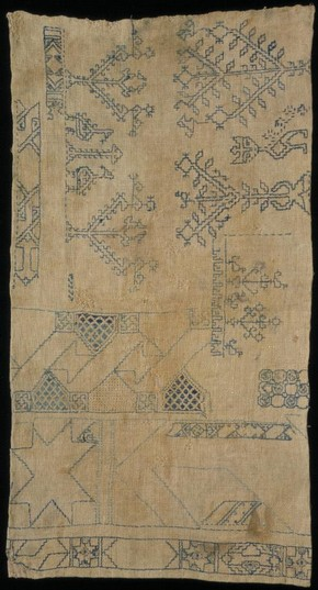 Linen sampler embroidered with silk in double running stitch, by unknown maker, Egypt, 14th-16th century. Museum no. T.326-1921 Given by G. D. Hornblower, Esq.