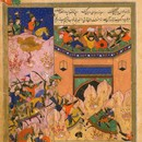 Detail of page from the Zafar Nama epic, Iran, 1500-1600. Museum no. E.2138-1929
