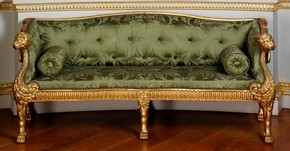 Carved and gilded limewood settee, designed by James Stuart, London, England, 1759-65. Museum no. W.3-1977