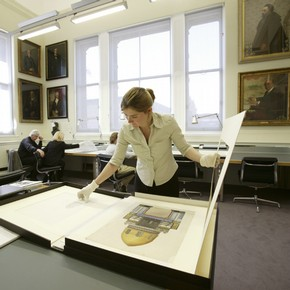 Readers in the Print Room and the RIBA reading room.