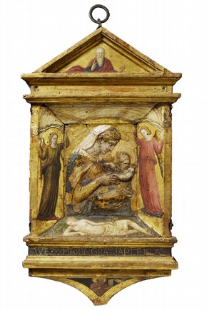 Painted and gilded stucco relief depicting the Virgin and Child, by Donatello, wooden frame probably painted by Paolo di Stefano, Florence, Italy, about 1435-40. Museum no. A.45-1926