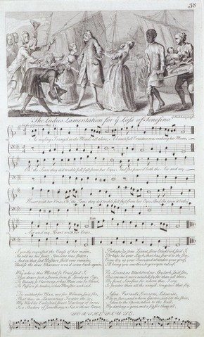 Bickham (engraver), sheet of printed music for the Ladies Lamentation for the Loss of Sensesino, 1737-1738. Musuem no. S.1137-1986