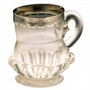 Frost Fair Mug, glass with engraved silver mount, made in London, perhaps Southwark, (museum no. C.156-1997). Purchased with the assistance of the National Art Collections Fund