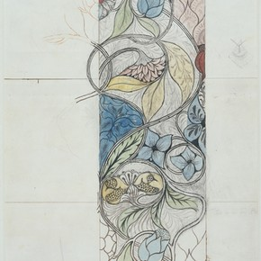 Embroidery design, pencil and watercolour by Mary (May) Morris, UK, about 1885. Museum no. E.50-1940