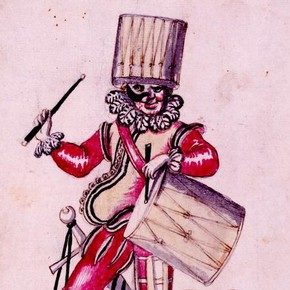 Costume design for A Drummer in the French ballet des Fées de la Forest de St.Germain, pen